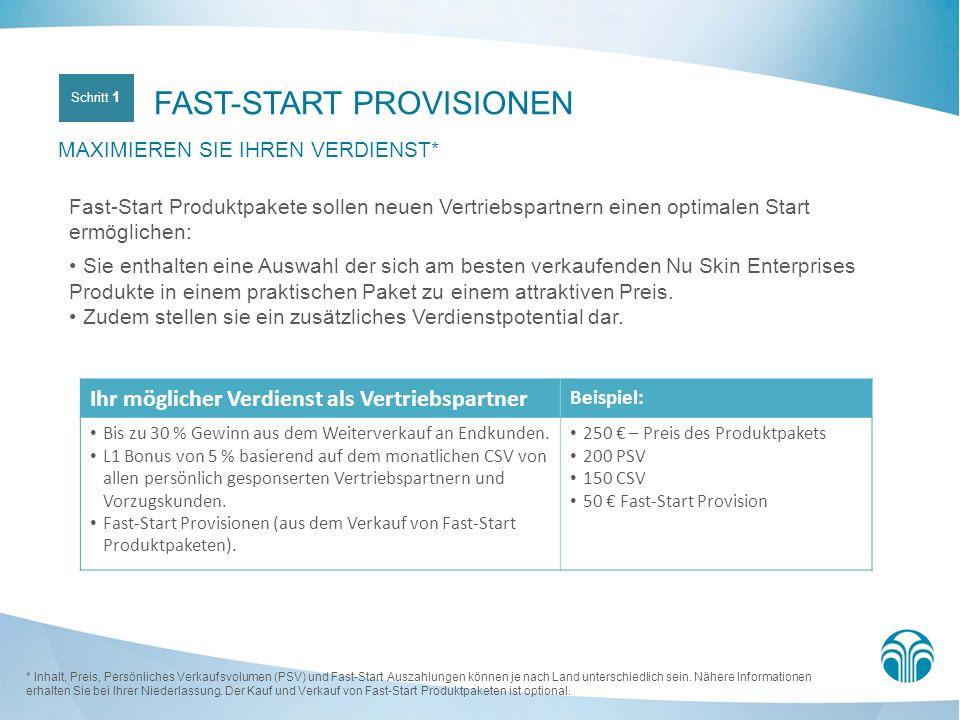 FAST-START PROVISIONEN MAXIMIEREN SIE IHREN VERDIENST* Fast-Start Produktpakete sollen neuen Vertriebspartnern einen optimalen Start ermöglichen: Sie