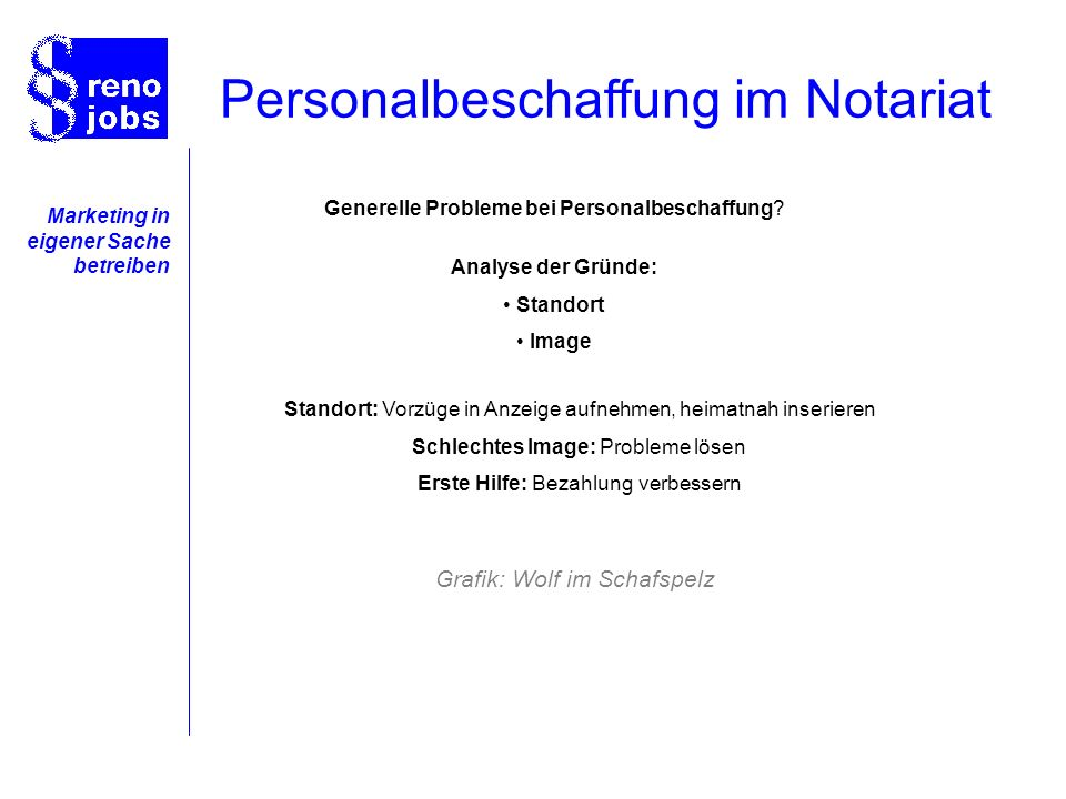 Marketing in eigener Sache betreiben Analyse der Gründe: Standort Image Generelle Probleme bei Personalbeschaffung.