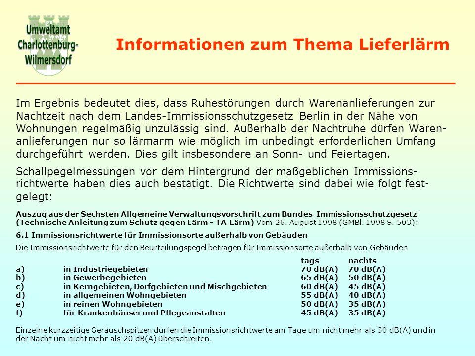 Informationen zum Thema Lieferlärm Im Ergebnis bedeutet dies, dass Ruhestörungen durch Warenanlieferungen zur Nachtzeit nach dem Landes-Immissionsschutzgesetz Berlin in der Nähe von Wohnungen regelmäßig unzulässig sind.
