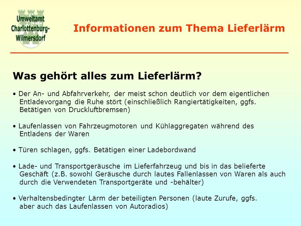 Informationen zum Thema Lieferlärm Wer ist verantwortlich für den Lieferlärm.