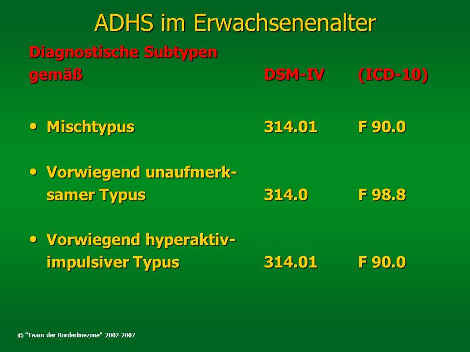ADHS im Erwachsenenalter Diagnostische Subtypen gemäßDSM-IV(ICD-10) Mischtypus314.01F 90.0 Mischtypus314.01F 90.0 Vorwiegend unaufmerk- Vorwiegend una