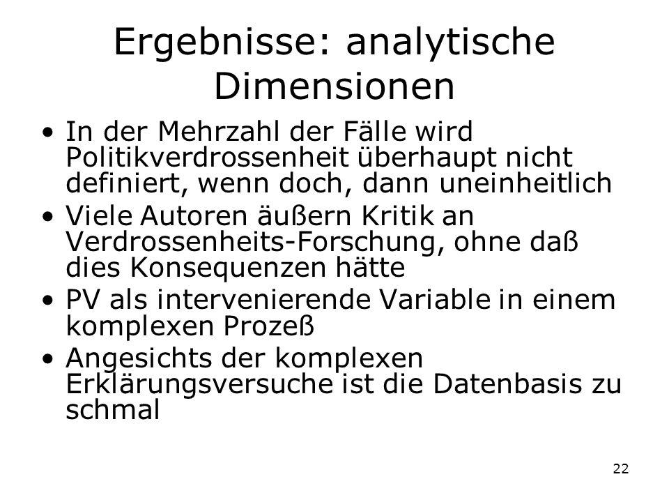 22 Ergebnisse: analytische Dimensionen In der Mehrzahl der Fälle wird Politikverdrossenheit überhaupt nicht definiert, wenn doch, dann uneinheitlich V