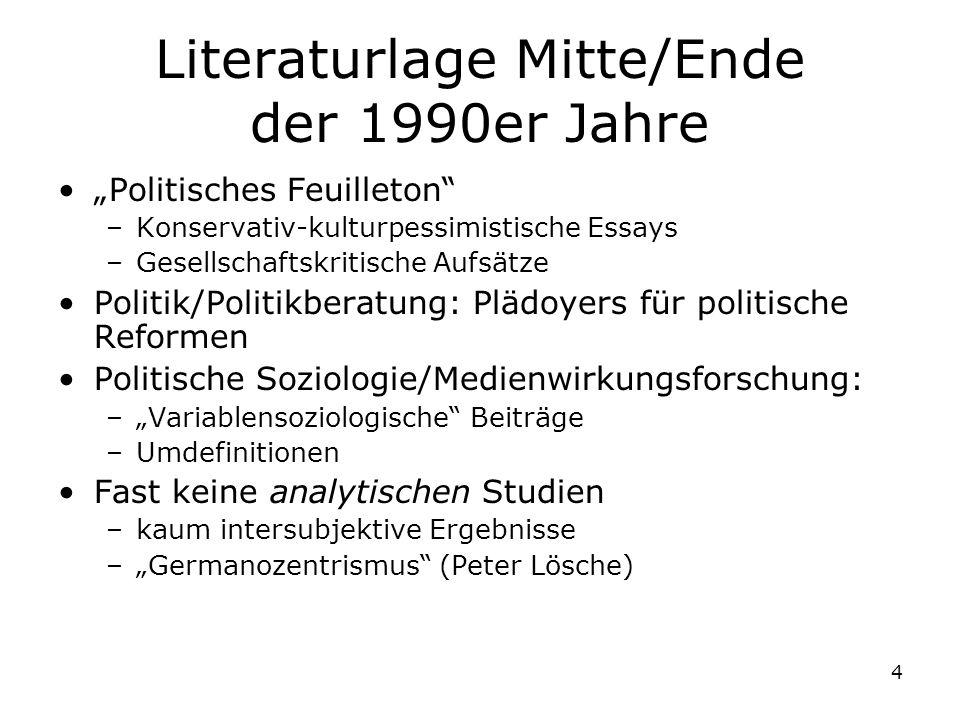 4 Literaturlage Mitte/Ende der 1990er Jahre Politisches Feuilleton –Konservativ-kulturpessimistische Essays –Gesellschaftskritische Aufsätze Politik/P