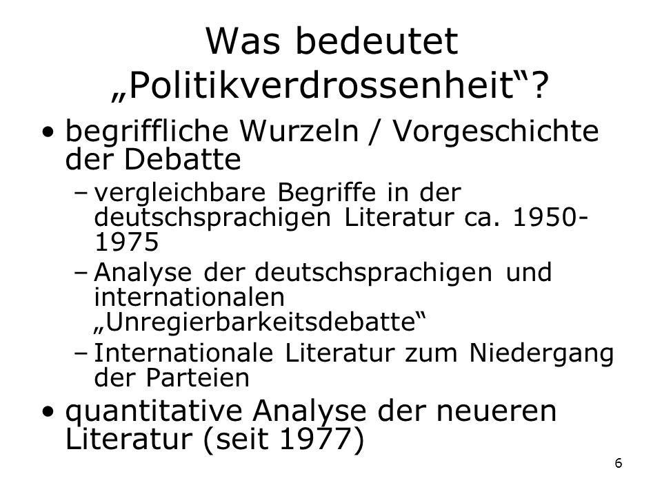 6 Was bedeutet Politikverdrossenheit? begriffliche Wurzeln / Vorgeschichte der Debatte –vergleichbare Begriffe in der deutschsprachigen Literatur ca.