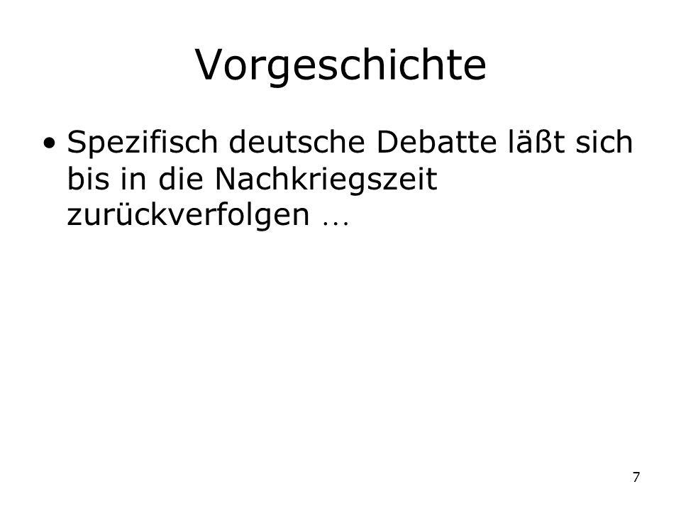 7 Vorgeschichte Spezifisch deutsche Debatte läßt sich bis in die Nachkriegszeit zurückverfolgen