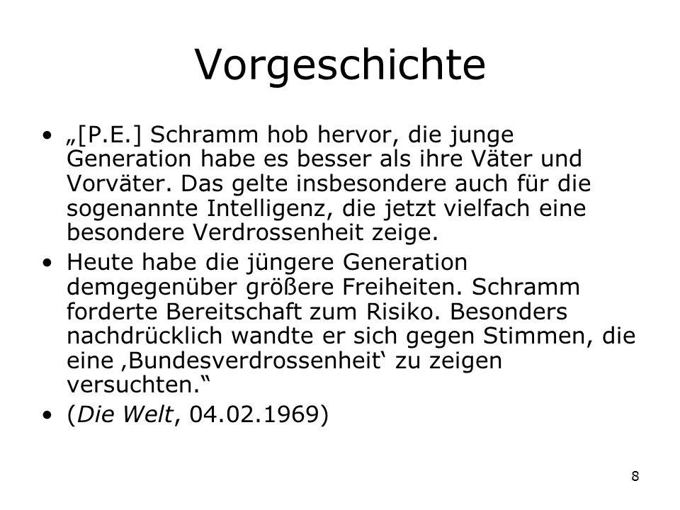 8 Vorgeschichte [P.E.] Schramm hob hervor, die junge Generation habe es besser als ihre Väter und Vorväter. Das gelte insbesondere auch für die sogena