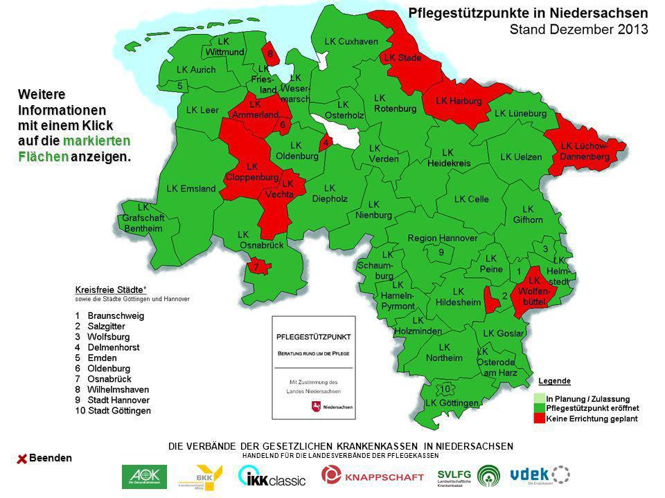 DIE VERBÄNDE DER GESETZLICHEN KRANKENKASSEN IN NIEDERSACHSEN HANDELND FÜR DIE LANDESVERBÄNDE DER PFLEGEKASSEN Landkreis Northeim Pflegestützpunkt Landkreis Northeim Medenheimer Str.