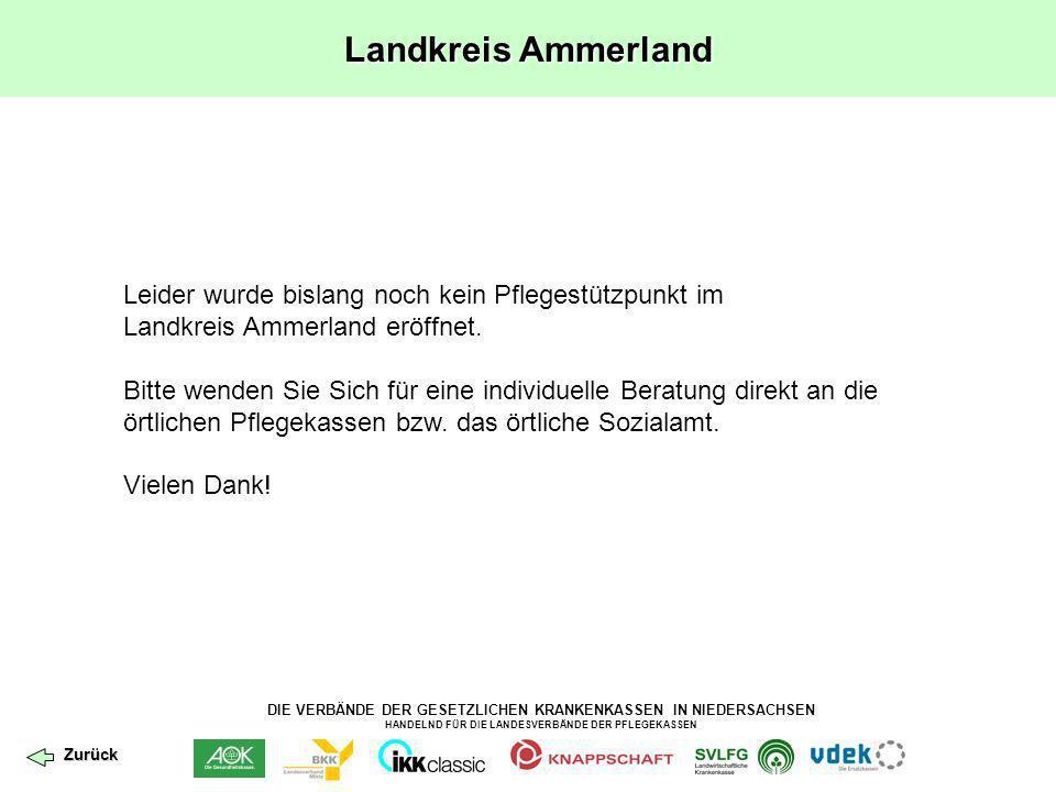 DIE VERBÄNDE DER GESETZLICHEN KRANKENKASSEN IN NIEDERSACHSEN HANDELND FÜR DIE LANDESVERBÄNDE DER PFLEGEKASSEN Landkreis Stade Leider wurde bislang noch kein Pflegestützpunkt im Landkreis Stade eröffnet.