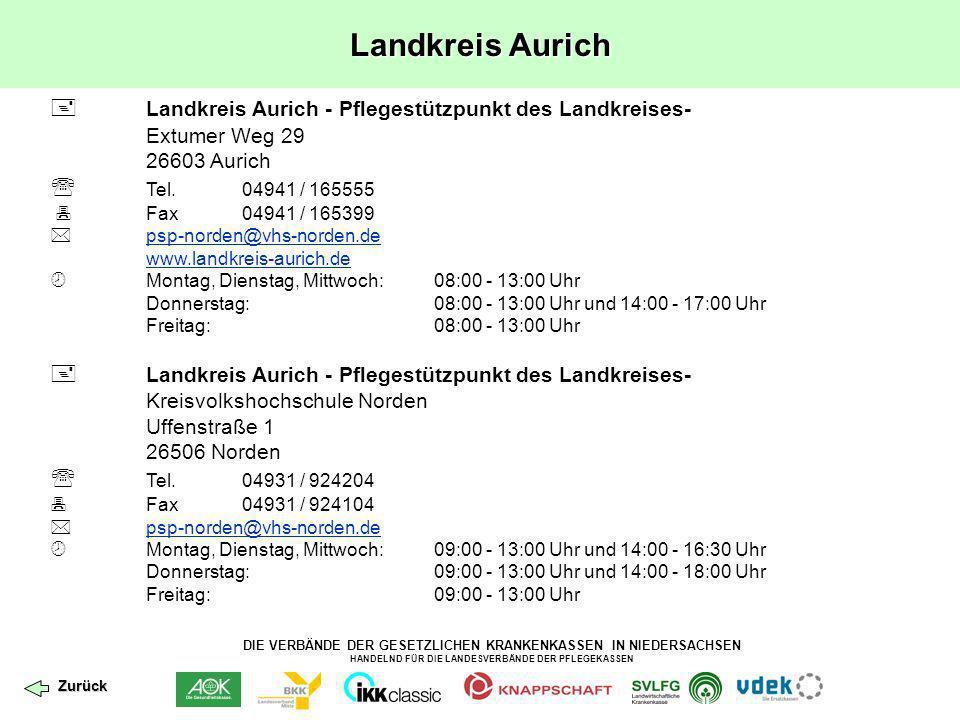 DIE VERBÄNDE DER GESETZLICHEN KRANKENKASSEN IN NIEDERSACHSEN HANDELND FÜR DIE LANDESVERBÄNDE DER PFLEGEKASSEN Stadt Oldenburg In Kürze wird der Pflegestützpunkt in der Stadt Oldenburg eröffnet.