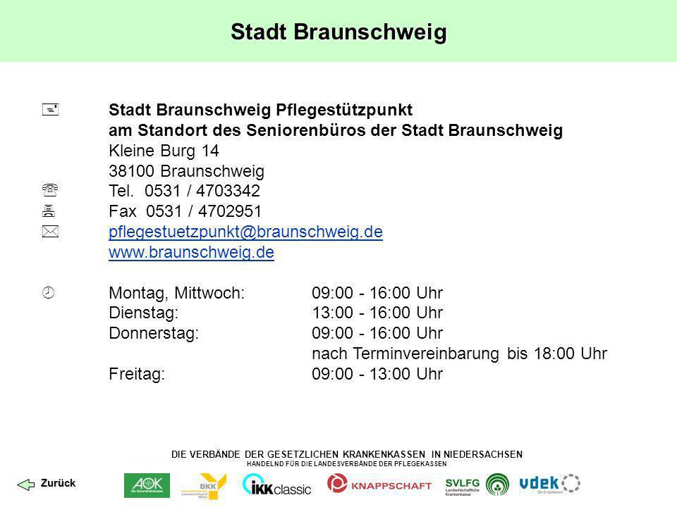 DIE VERBÄNDE DER GESETZLICHEN KRANKENKASSEN IN NIEDERSACHSEN HANDELND FÜR DIE LANDESVERBÄNDE DER PFLEGEKASSEN Landkreis Osnabrück Pflegestützpunkt Landkreis Osnabrück Am Schölerberg 1 49082 Osnabrück Tel.