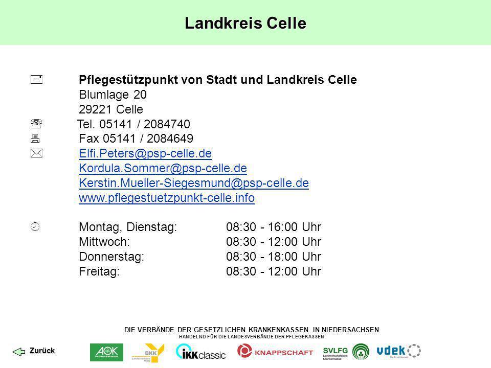 DIE VERBÄNDE DER GESETZLICHEN KRANKENKASSEN IN NIEDERSACHSEN HANDELND FÜR DIE LANDESVERBÄNDE DER PFLEGEKASSEN Landkreis Cloppenburg Leider wurde bislang noch kein Pflegestützpunkt im Landkreis Cloppenburg eröffnet.
