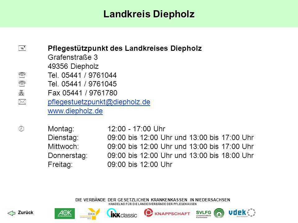 DIE VERBÄNDE DER GESETZLICHEN KRANKENKASSEN IN NIEDERSACHSEN HANDELND FÜR DIE LANDESVERBÄNDE DER PFLEGEKASSEN Landkreis Wolfenbüttel Leider wurde bislang noch kein Pflegestützpunkt im Landkreis Wolfenbüttel eröffnet.