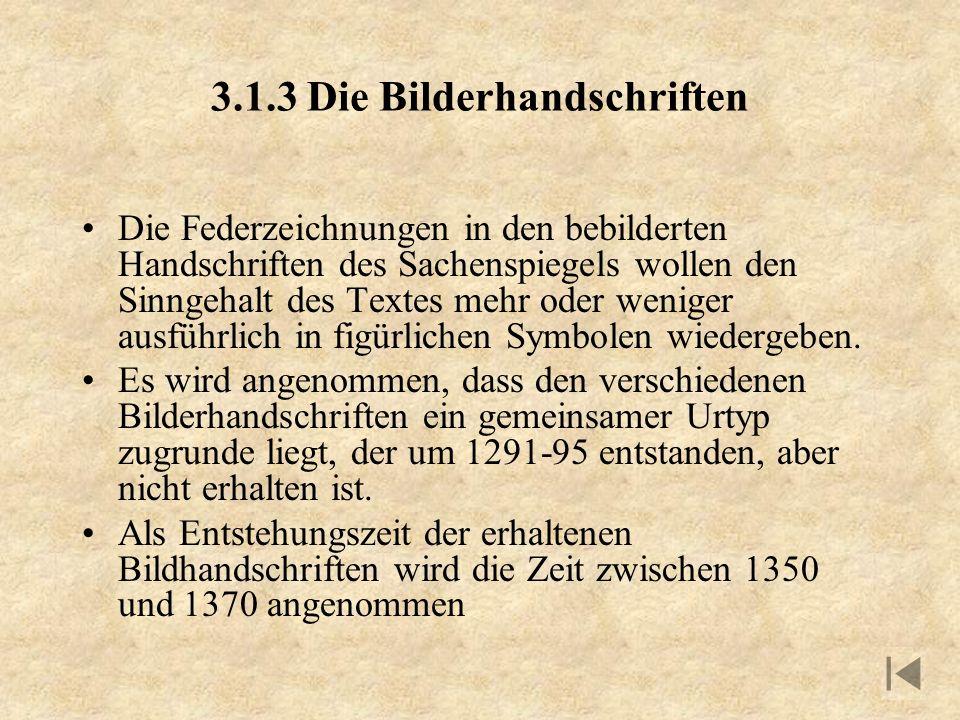 3.1.3 Die Bilderhandschriften Die Federzeichnungen in den bebilderten Handschriften des Sachenspiegels wollen den Sinngehalt des Textes mehr oder weni