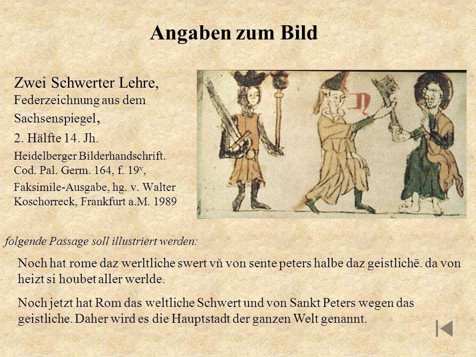 Angaben zum Bild Zwei Schwerter Lehre, Federzeichnung aus dem Sachsenspiegel, 2. Hälfte 14. Jh. Heidelberger Bilderhandschrift. Cod. Pal. Germ. 164, f