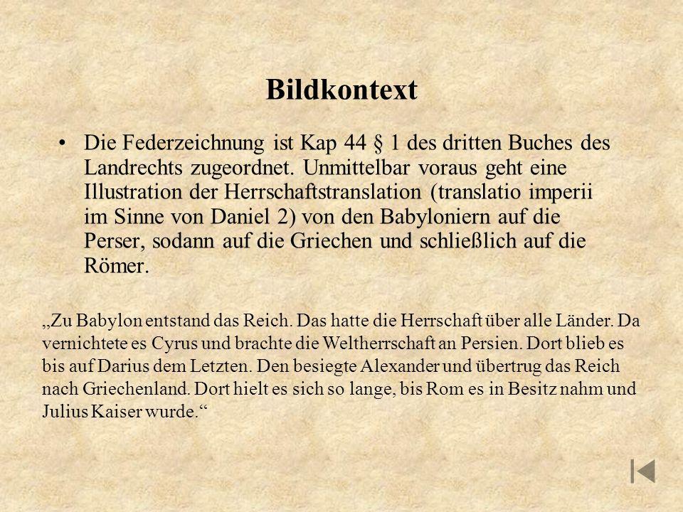 Bildkontext Die Federzeichnung ist Kap 44 § 1 des dritten Buches des Landrechts zugeordnet. Unmittelbar voraus geht eine Illustration der Herrschaftst