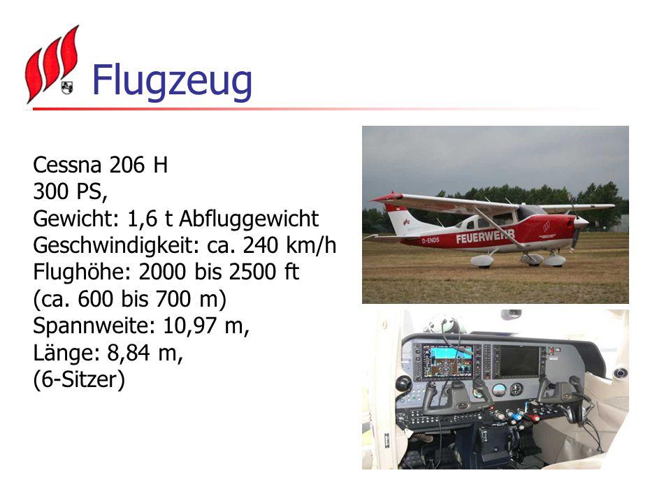 Flugzeug Cessna 206 H 300 PS, Gewicht: 1,6 t Abfluggewicht Geschwindigkeit: ca.