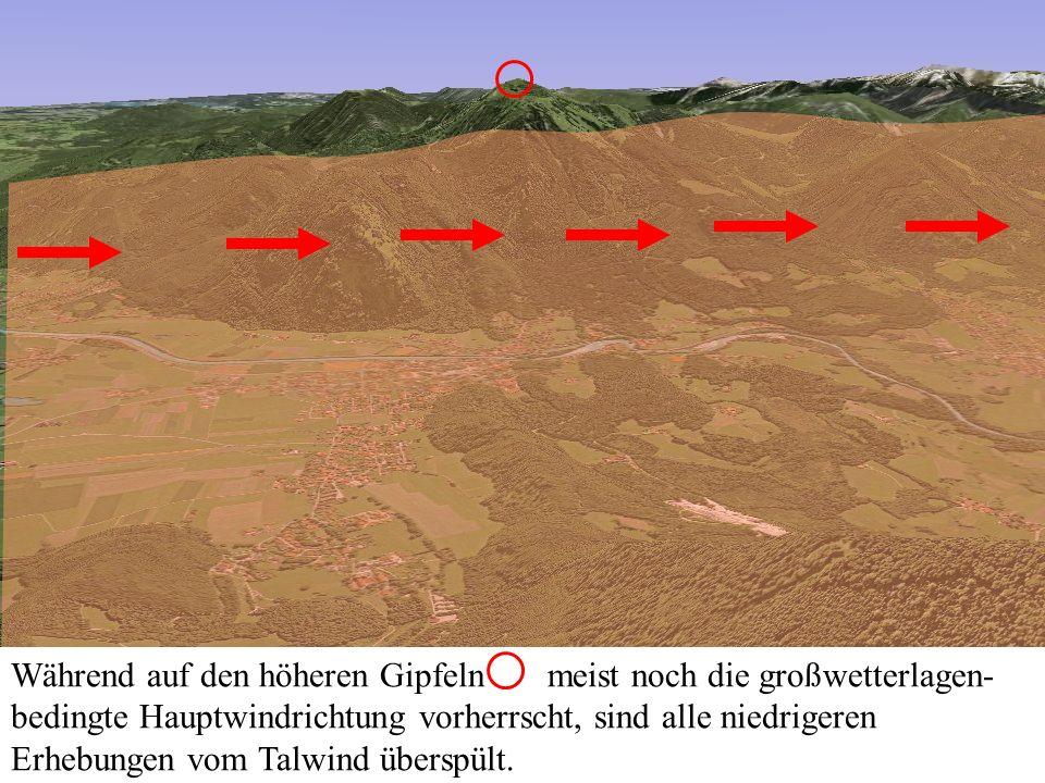 An der dem Talwind abgewandten Seite der Bergflanken entstehen ausgeprägte Leegebiete, die jedem Gleitschirm- oder Drachenflieger das Fürchten lehren können