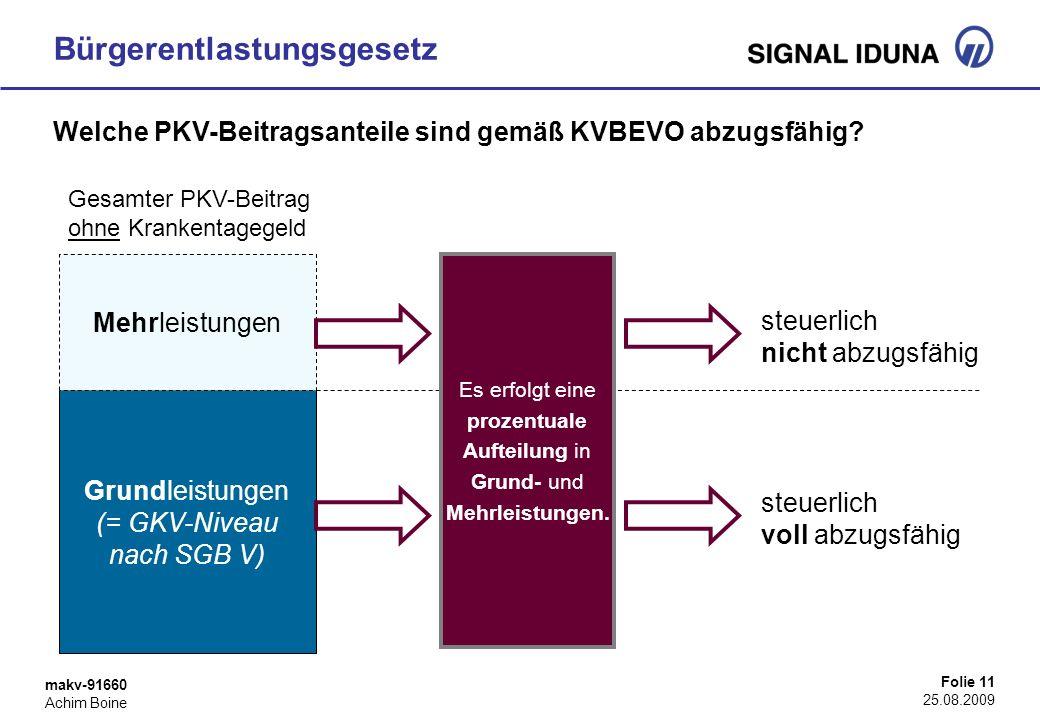 makv-91660 Achim Boine Folie 11 25.08.2009 Bürgerentlastungsgesetz Welche PKV-Beitragsanteile sind gemäß KVBEVO abzugsfähig? Gesamter PKV-Beitrag ohne