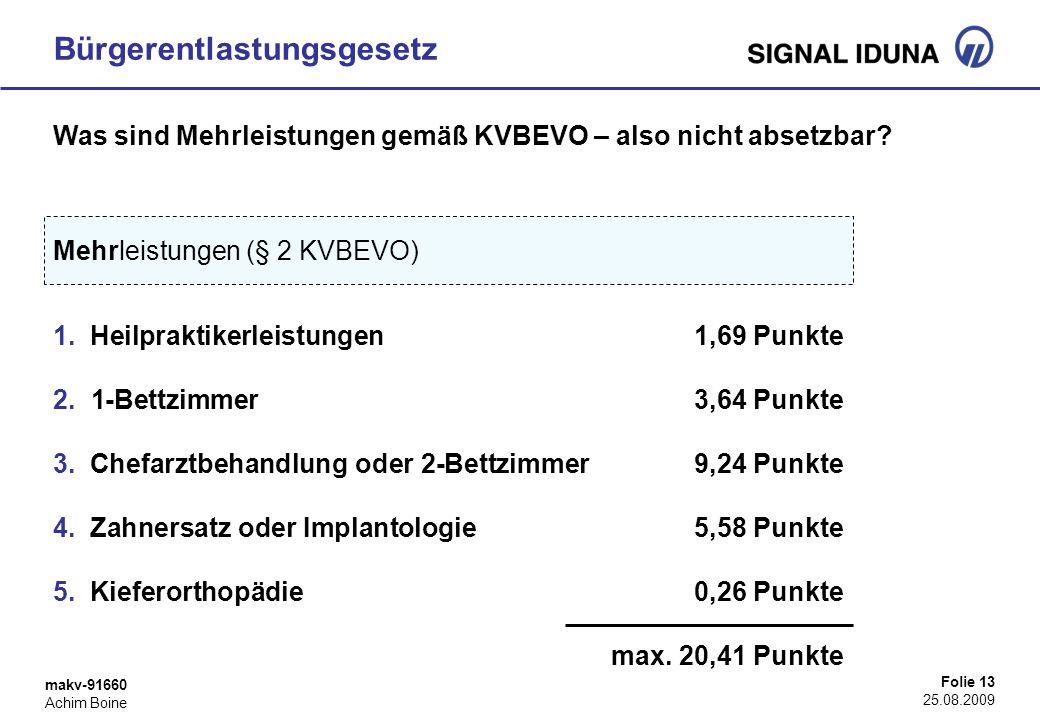 makv-91660 Achim Boine Folie 13 25.08.2009 Bürgerentlastungsgesetz Mehrleistungen (§ 2 KVBEVO) 1. Heilpraktikerleistungen1,69 Punkte 2. 1-Bettzimmer3,
