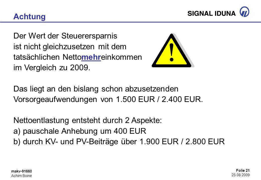 makv-91660 Achim Boine Folie 21 25.08.2009 Achtung Der Wert der Steuerersparnis ist nicht gleichzusetzen mit dem tatsächlichen Nettomehreinkommen im V