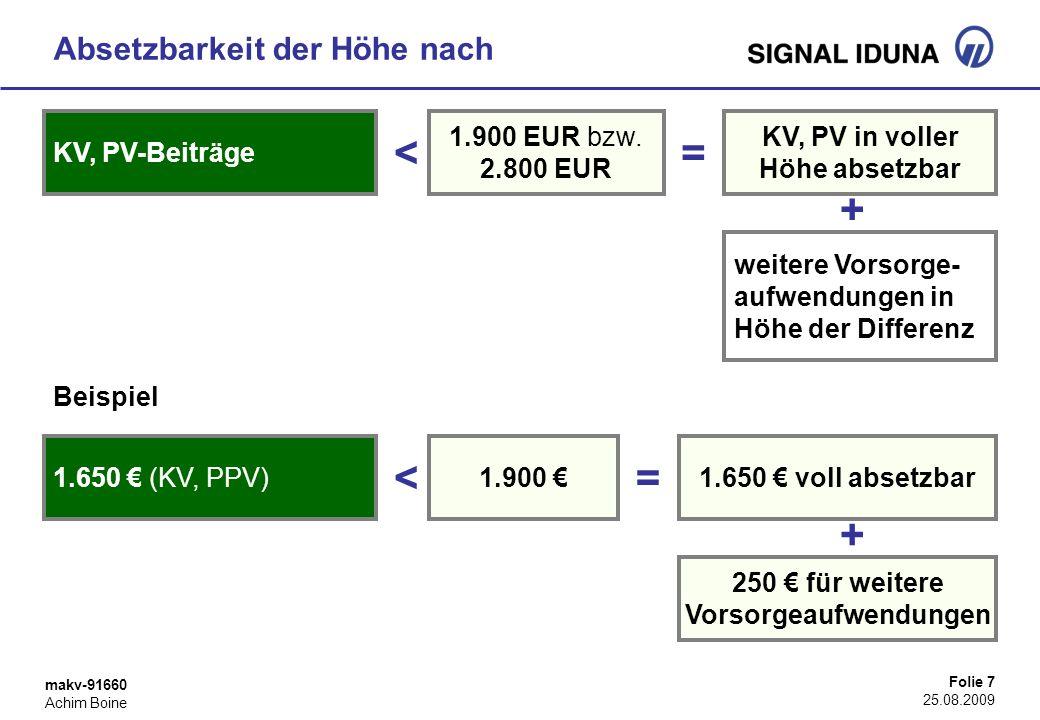 makv-91660 Achim Boine Folie 7 25.08.2009 Absetzbarkeit der Höhe nach KV, PV-Beiträge weitere Vorsorge- aufwendungen in Höhe der Differenz 1.900 EUR b
