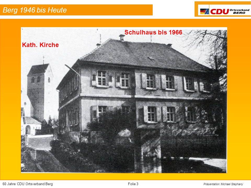 60 Jahre CDU Ortsverband BergFolie 44 Präsentation: Michael Stephany Berg 1946 bis Heute Die Kandidaten zur Gemeinderatswahl 1999
