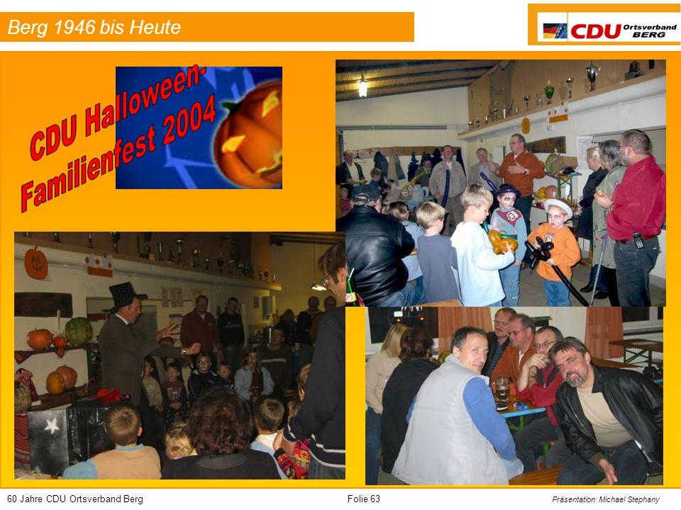 60 Jahre CDU Ortsverband BergFolie 63 Präsentation: Michael Stephany Berg 1946 bis Heute