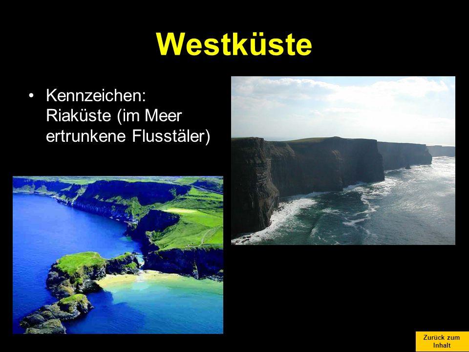 Zurück zum Inhalt Westküste Kennzeichen: Riaküste (im Meer ertrunkene Flusstäler)