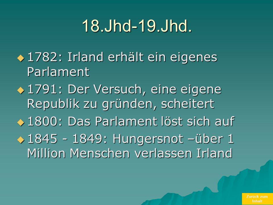 Zurück zum Inhalt18.Jhd-19.Jhd. 1782: Irland erhält ein eigenes Parlament 1782: Irland erhält ein eigenes Parlament 1791: Der Versuch, eine eigene Rep