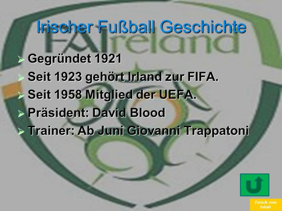 Zurück zum Inhalt Irischer Fußball Geschichte Gegründet 1921 Gegründet 1921 Seit 1923 gehört Irland zur FIFA. Seit 1923 gehört Irland zur FIFA. Seit 1