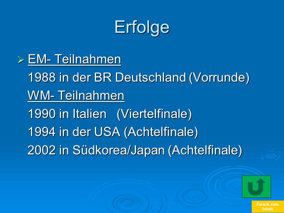 Zurück zum InhaltErfolge EM- Teilnahmen EM- Teilnahmen 1988 in der BR Deutschland (Vorrunde) 1988 in der BR Deutschland (Vorrunde) WM- Teilnahmen WM-