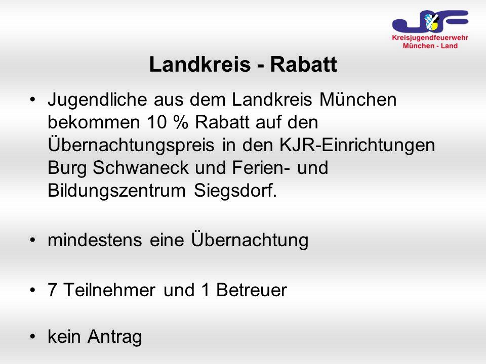 Jugendliche aus dem Landkreis München bekommen 10 % Rabatt auf den Übernachtungspreis in den KJR-Einrichtungen Burg Schwaneck und Ferien- und Bildungszentrum Siegsdorf.