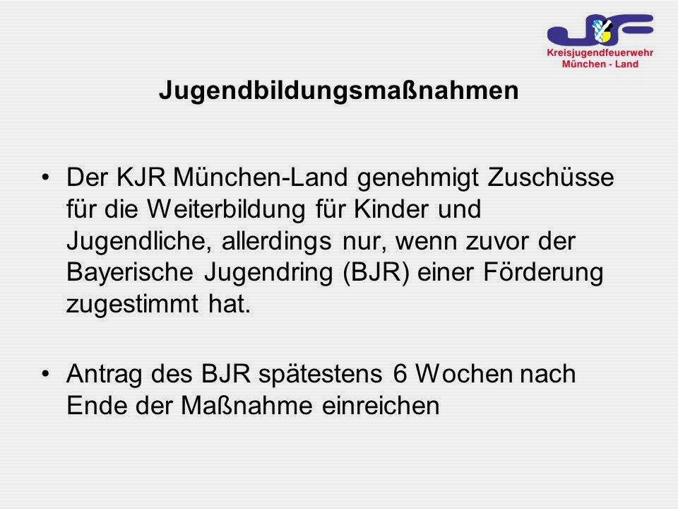 Jugendbildungsmaßnahmen Der KJR München-Land genehmigt Zuschüsse für die Weiterbildung für Kinder und Jugendliche, allerdings nur, wenn zuvor der Bayerische Jugendring (BJR) einer Förderung zugestimmt hat.