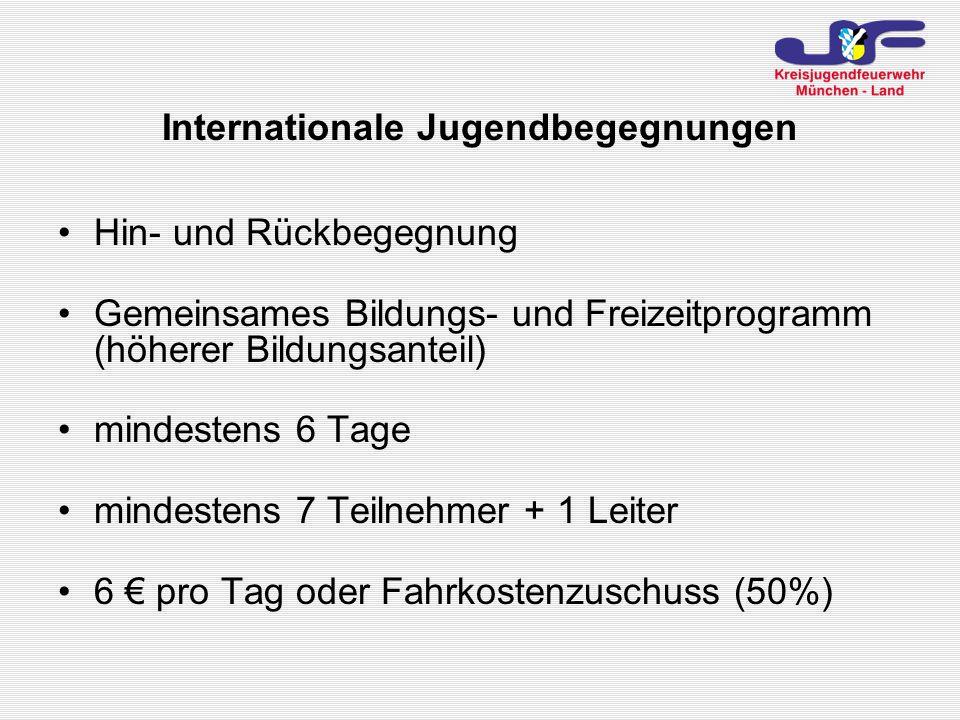 Hin- und Rückbegegnung Gemeinsames Bildungs- und Freizeitprogramm (höherer Bildungsanteil) mindestens 6 Tage mindestens 7 Teilnehmer + 1 Leiter 6 pro Tag oder Fahrkostenzuschuss (50%) Internationale Jugendbegegnungen