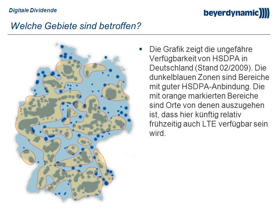 Digitale Dividende Welche Gebiete sind betroffen? Die Grafik zeigt die ungefähre Verfügbarkeit von HSDPA in Deutschland (Stand 02/2009). Die dunkelbla