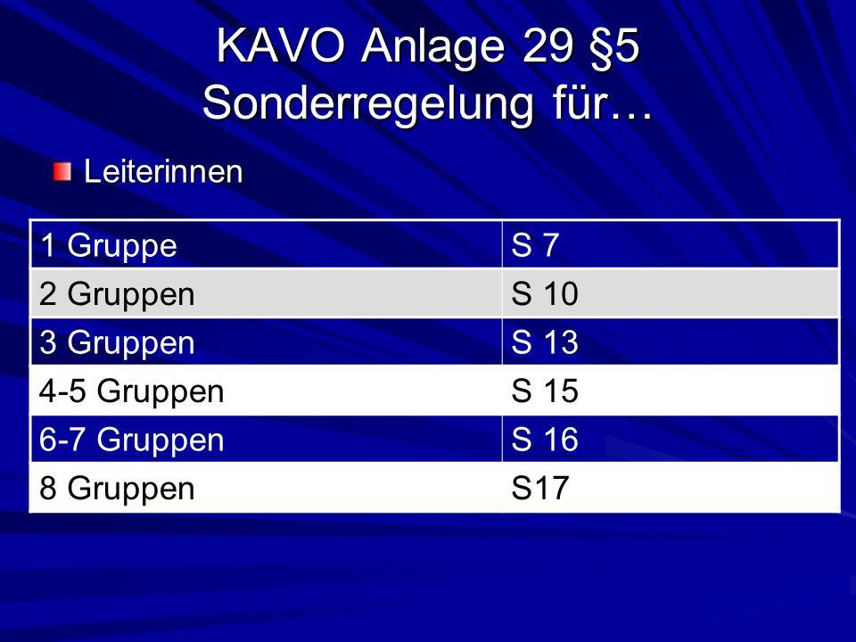 KAVO Anlage 29 §5 Sonderregelung für… Ausdrücklich bestellte Vertreterin der Leitung 2 GruppenS 7 3 GruppenS 10 4-5 GruppenS 13 6-7 GruppenS 15 8 GruppenS 16