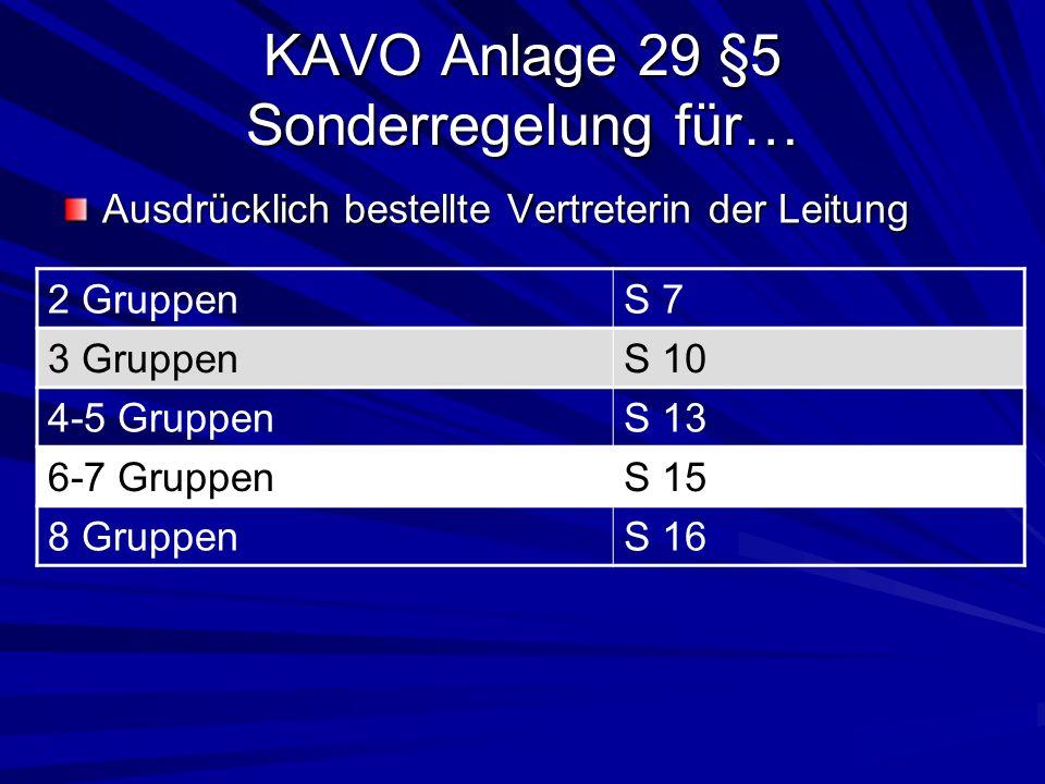 KAVO Anlage 29 §5 Sonderregelung für… Ausdrücklich bestellte Vertreterin der Leitung 2 GruppenS 7 3 GruppenS 10 4-5 GruppenS 13 6-7 GruppenS 15 8 Grup