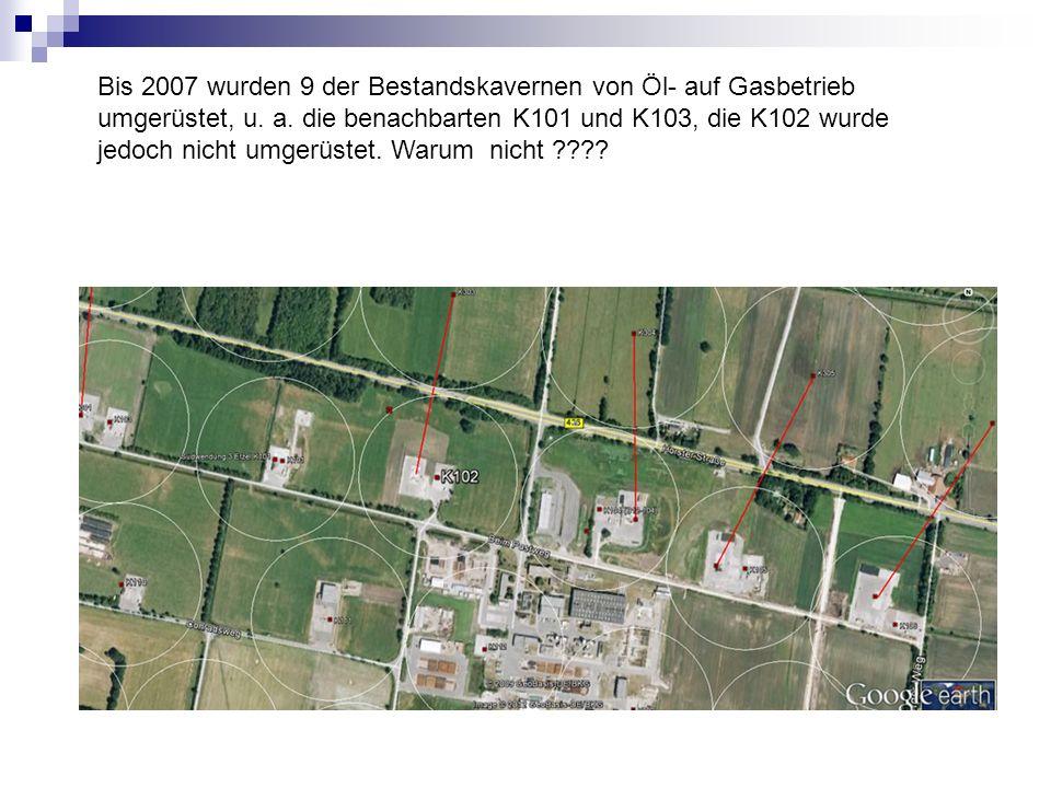 Bis 2007 wurden 9 der Bestandskavernen von Öl- auf Gasbetrieb umgerüstet, u. a. die benachbarten K101 und K103, die K102 wurde jedoch nicht umgerüstet