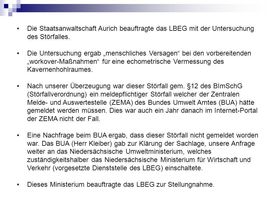 Die Staatsanwaltschaft Aurich beauftragte das LBEG mit der Untersuchung des Störfalles. Die Untersuchung ergab menschliches Versagen bei den vorbereit