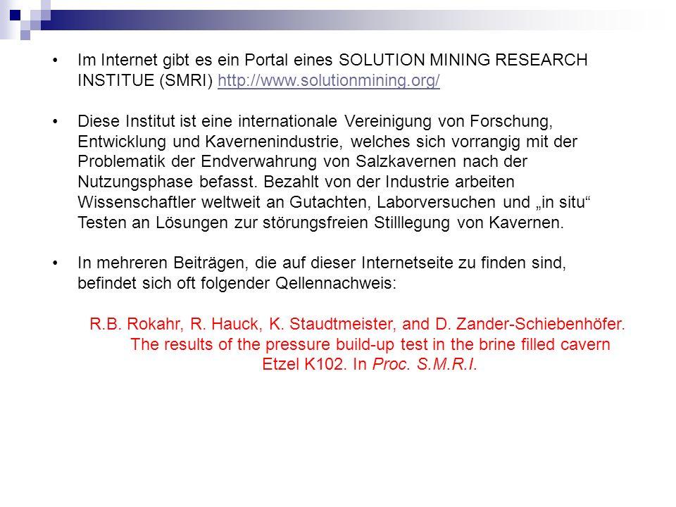 Im Internet gibt es ein Portal eines SOLUTION MINING RESEARCH INSTITUE (SMRI) http://www.solutionmining.org/http://www.solutionmining.org/ Diese Insti