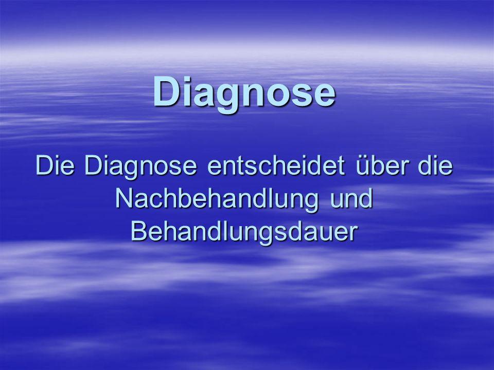 Diagnose Die Diagnose entscheidet über die Nachbehandlung und Behandlungsdauer