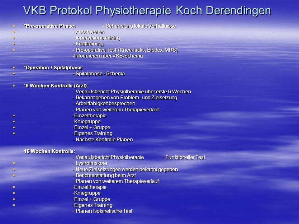VKB Protokol Physiotherapie Koch Derendingen *Pre-operative Phase:- Behandlung lokale Verhältnisse *Pre-operative Phase:- Behandlung lokale Verhältnis