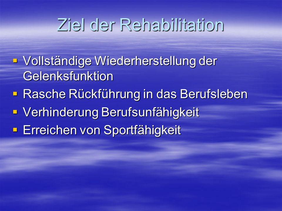 Ziel der Rehabilitation Vollständige Wiederherstellung der Gelenksfunktion Vollständige Wiederherstellung der Gelenksfunktion Rasche Rückführung in da