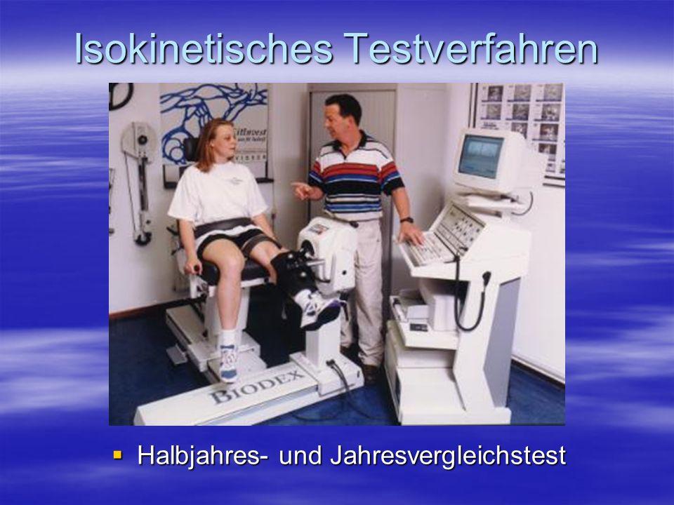 Isokinetisches Testverfahren Halbjahres- und Jahresvergleichstest Halbjahres- und Jahresvergleichstest