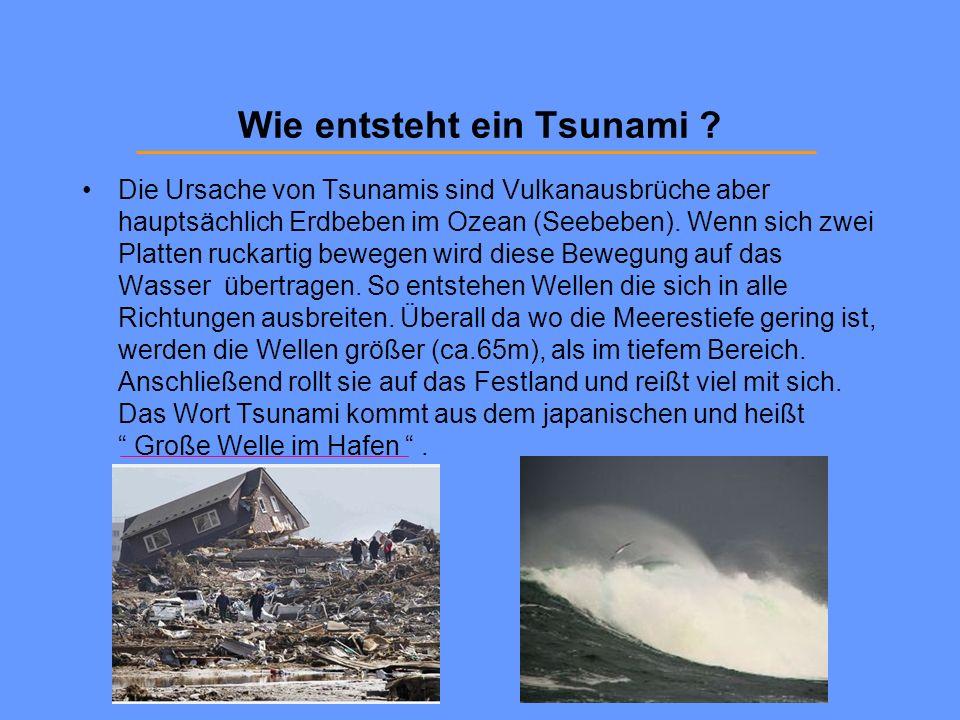 Wie entsteht ein Tsunami ? Die Ursache von Tsunamis sind Vulkanausbrüche aber hauptsächlich Erdbeben im Ozean (Seebeben). Wenn sich zwei Platten rucka