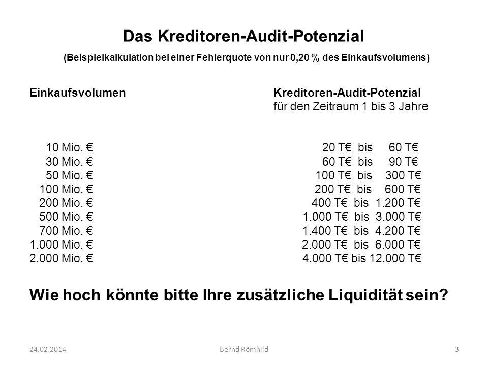 Das Kreditoren-Audit-Potenzial (Beispielkalkulation bei einer Fehlerquote von nur 0,20 % des Einkaufsvolumens) EinkaufsvolumenKreditoren-Audit-Potenzi