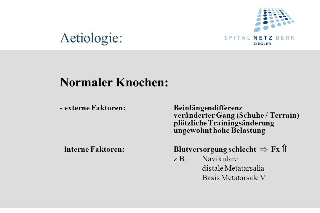 Aetiologie: Normaler Knochen: - externe Faktoren:Beinlängendifferenz veränderter Gang (Schuhe / Terrain) plötzliche Trainingsänderung ungewohnt hohe B