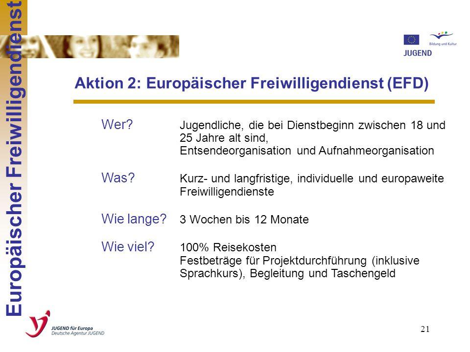 20 Europäischer Freiwilligendienst steht grundsätzlich allen Jugendlichen offen, unabhängig von ihrem Bildungshintergrund. Er bietet jungen Menschen i