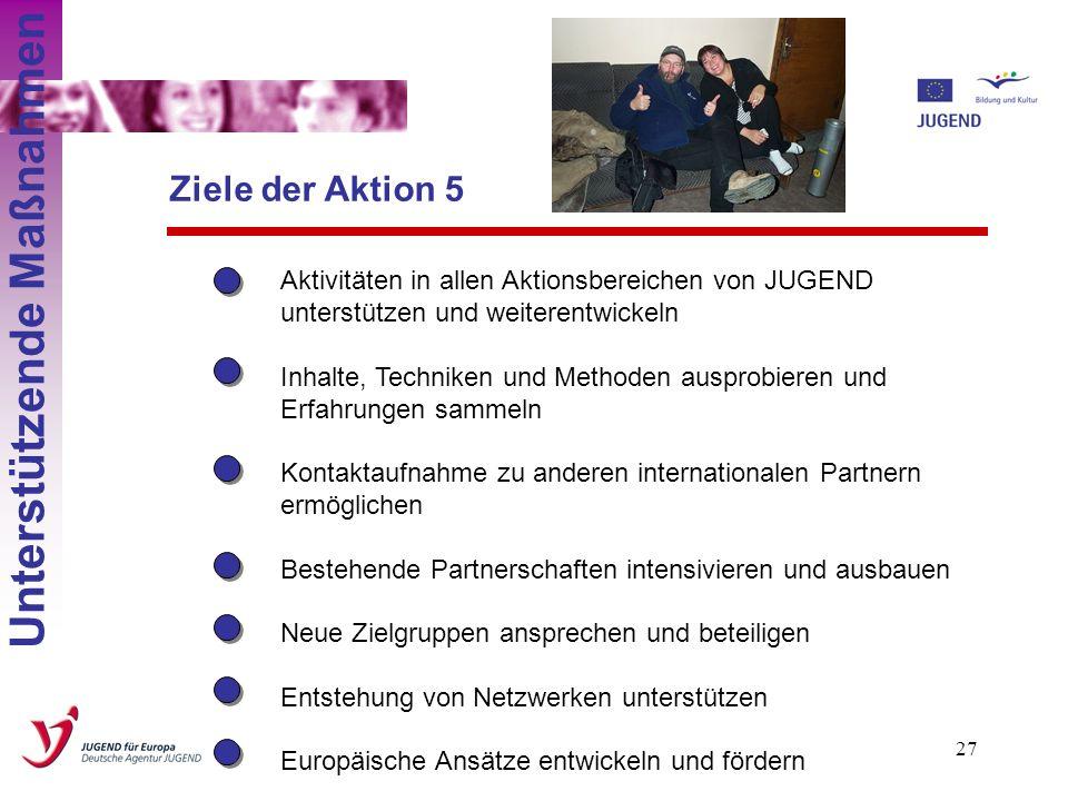 26 Aktion 5: Unterstützende Maßnahmen Unterstützende Maßnahmen Wer? TrainerInnen, TutorInnen, ProjektleiterInnen, JugendleiterInnen, Jugendliche, Proj