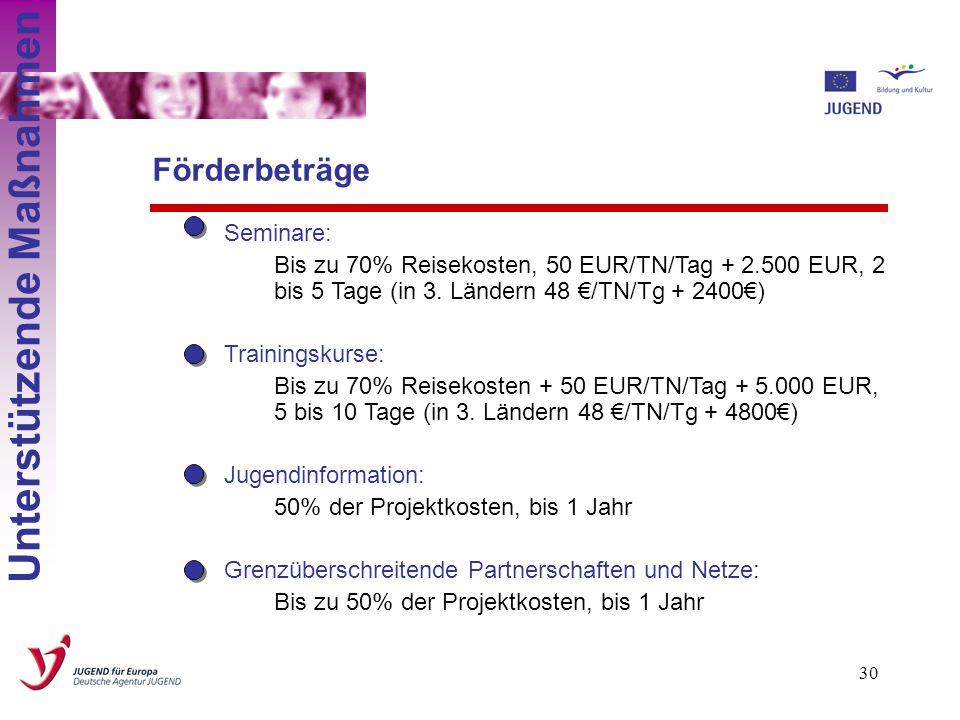 29 Job shadowing: Bis zu 70% Reisekosten + 50 EUR/TN/Tag, 1 bis 3 Wochen (in 3. Ländern 48 /TN/Tg) Projekt vorbreitender Besuch: Bis zu 70% Reisekoste